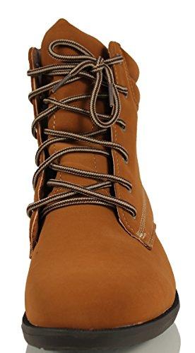 Mfs Kvinna Juno Faux Nubuckläder Spets Upp Chica Arbete Boot Boots, Solbränna, 7,5 M Oss