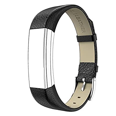 Fitbit Alta Bands Leather, Swees Genuine Leather Band With Buckle Replacement Accessories Leather Band Wristband Small & Large for Fitbit Alta, Silver, Red, Gold, Black, Brown by Swees