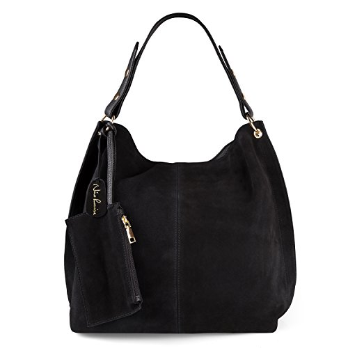 Black Hobo (Nico Louise Women Genuine Suede Leather Large Hobo Purse Shoulder Bag (Black))