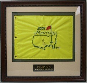 Ernie Els Signed Autograph 2005 Masters Flag Custom Framed - Autographed Autograph (2005 Masters Flag)
