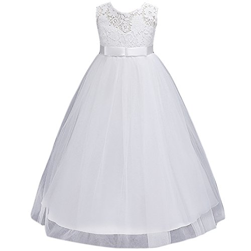 JiaDuo Wedding Flower Girl Dress Bridesmaid Lace Party Maxi Gown Ivory (Ivory Lace Gown)