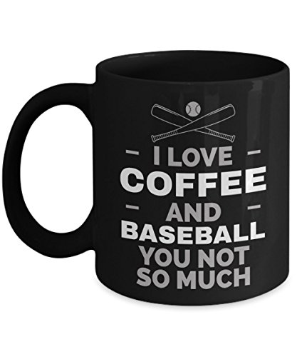 (Baseball Coffee Mug | I Love Coffee And Baseball | Novelty Gift Idea for Coach Men Women Mom and Dad Black Ceramic 11 oz)