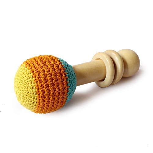 Shumee 木製 オーガニック かぎ針編み シェーカー ラトル おもちゃ (0歳以上) - 発見音と探検のテクスチャ (オレンジ)   B07H4HMS3Q
