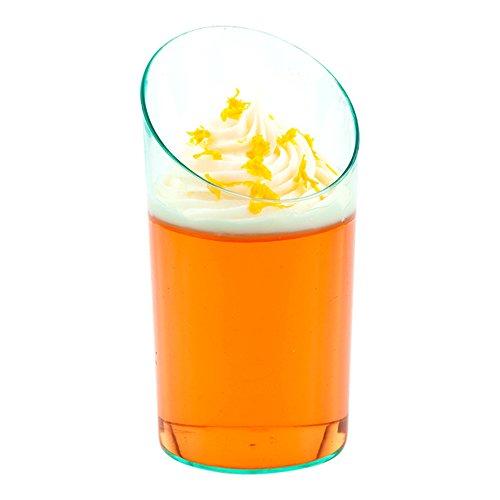 Incline Shot Glasses - 3 oz Premium Plastic - Seagreen - Serve Shots, Mini Cocktails, Desserts and More - 100ct Box - -