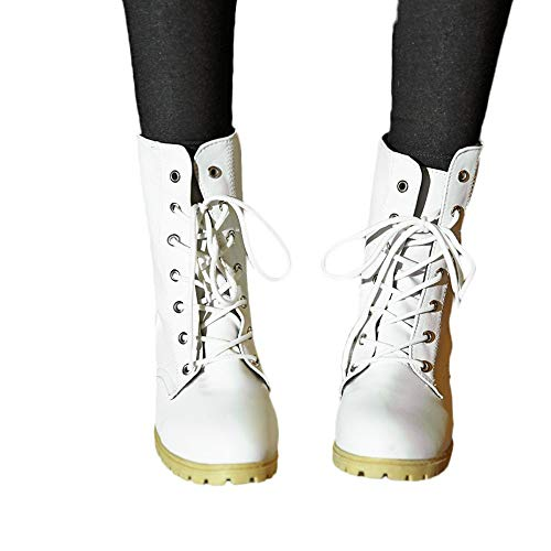 bbc873723f7 Gyoume Women Combat Boots Riding Ankle Boots Winter Lace Up Boots Shoes  Casual Warm Booties by