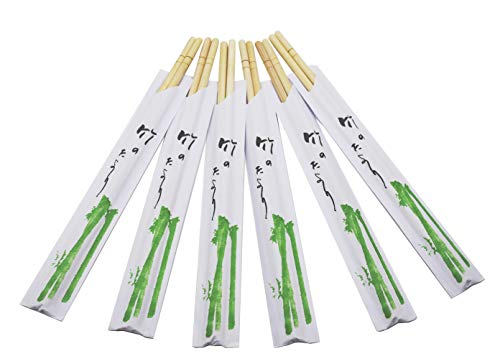 Premium Disposable Bamboo Chopsticks, 9 Inch 100 pairs Japanese Round Chopsticks Sleeved and Separated.
