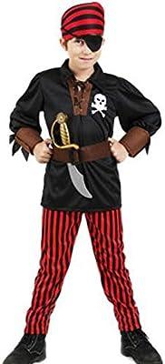 ZCC Conjunto de Disfraz de Pirata Rojo para niños Camisa Negra para niños de Halloween Disfraz de Pirata a Rayas Rojas Conjunto de Juego de rol de Manga Larga de algodón siamés