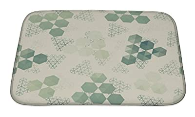 Gear New Geometric Pattern of Hexagon Triangle Bath Rug Mat No Slip Microfiber Memory Foam