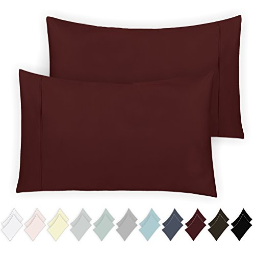 California Design Den 400 Thread Count 100% Cotton Pillowcase Set of 2, Long - Staple Combed Pure Natural Cotton Pillowcase, Soft & Silky Sateen Weave by (King, Wine Red) ()