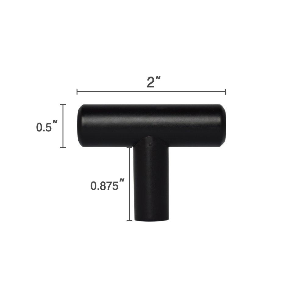 2-18'' Matte Black Kitchen Cabinet T Bar Pull Handle Knob Hardware (2'')