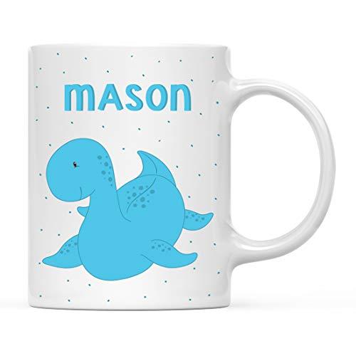 Andaz Press Personalized 11oz. Kids Milk Hot Chocolate Mug, Blue Dinosaur, 1-Pack, Custom Child's Birthday Christmas Coffee Cup