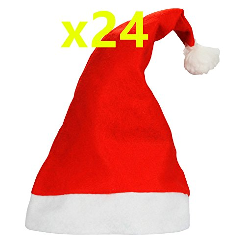 Yansanido 24pcs Traditional Red and White Plush Christmas Santa Hat for Children or Aldult, Pack of 24