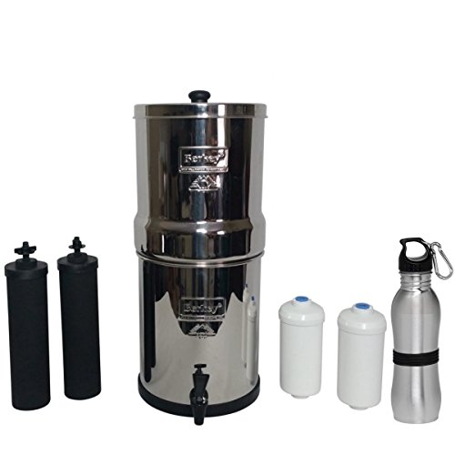 Travel Berkey Water Filter 1.5 Gallon Combination Bundle: 2 Black BB9 Filters, 2 PF2 Fluoride Filters, 1 Stainless Steel Water Bottle