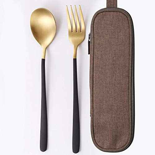 Jueqi Tableware Set Cutlery Stainless Steel 304 Utensils Kitchen Dinnerware Include Knife Fork Teaspoons Camping Tableware Bag Spoon fork 2PC F