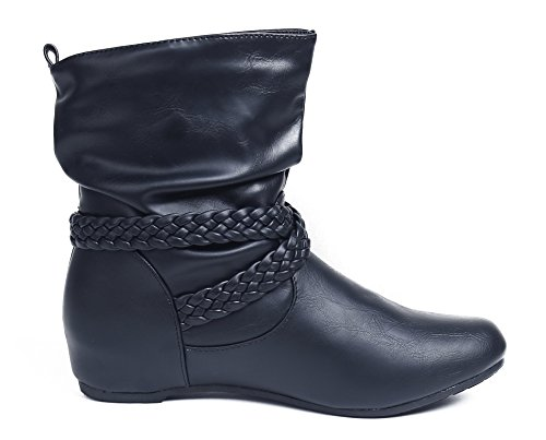 Slip Womens PU Winter Heel Wedge Shoes AgeeMi Black Boots Casual Classic On Ankle pBqx6Cw