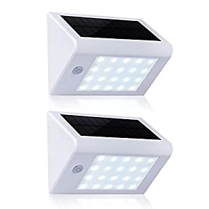 Solar Lights Outdoor, T-SUN Solar Lights 20 LED Motion Sensor wall Lights, Waterproof Wall Sconces for Outdoor, Yard, Driveway, Patio, Garage(White(6000K)-2 Pack)