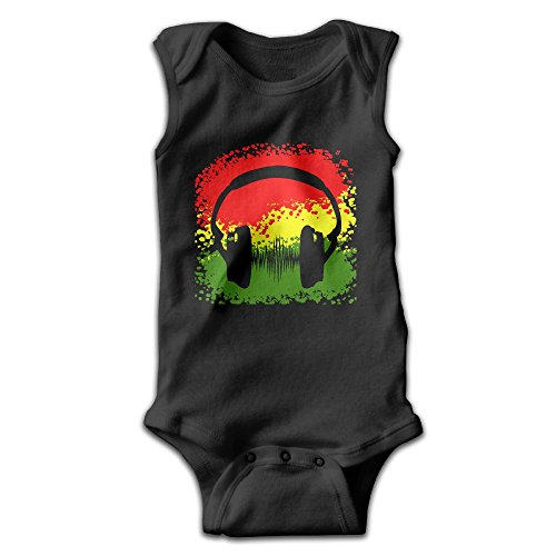 Haythuerme Rasta Headphones and Music Wave Reggae Unisex Baby Toddlers Comfortable Sleeveless Bodysuits Onesies Jumpsuits