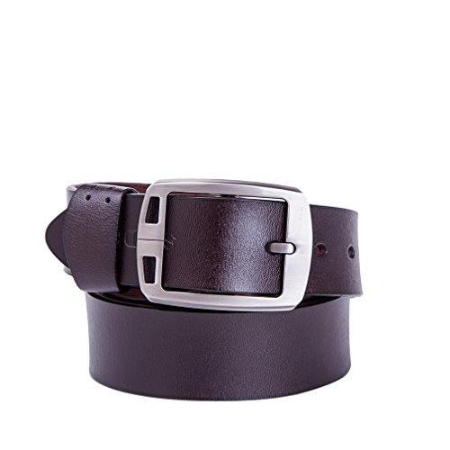 SINDE Men's classic leather belt Leisure belt buckle jeans 3 colors (42 Coffee) (Colour C42)
