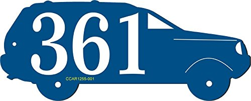Address Sign in Shape of Car - Unique Personalized Address Plaque Displays Up To 3 House Numbers - Choose Color: Black, White, Blue, Brushed Gold, Brushed Stainless, Yellow, Red, and Green # CCAR1255 by Comfort House