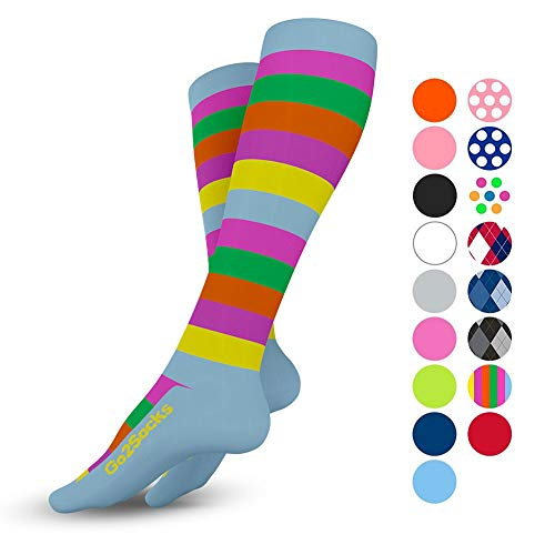 - Go2Socks Compression Socks for Men Women Nurses Runners 20-30 mmHg (high) - Medical Stocking Maternity Travel - Bet Performance Recovery Circulation Stamina - (2Stripe,S)