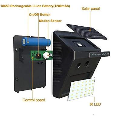 TMANGO Solar Lights Outdoor, Motion Sensor 30 LED Super Bright Security Flood Lighting Wirless Waterproof for Backyard Garden Patio Pathway Driveway 4 Pack 300 Lumens