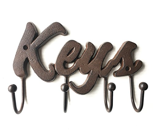 Cast Iron Decorative Key Holder - Cast Iron Wall Mount Decorative Keys Rack in Antique Brown Color - Metal Key Hooks Organizer - Screws and Anchors - 8x5.5