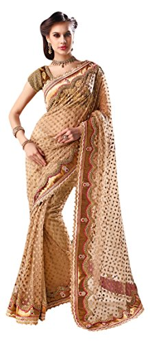 Vaaman Gold Net Embroidered Saree With Matching Blouse Pi...