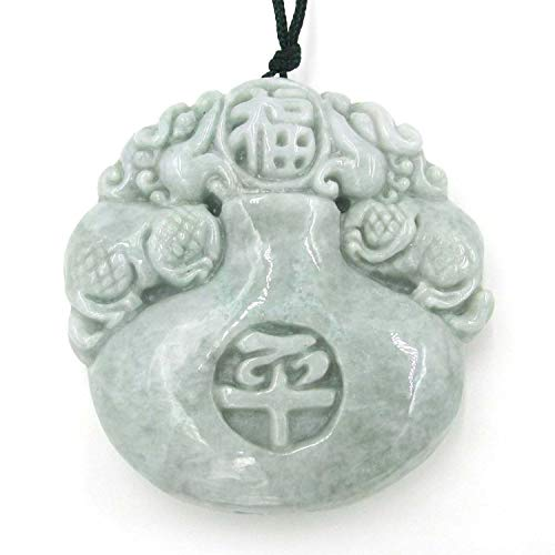 OVALBUY Two Side Carved Jadeite Jade Protective Kylin Dragon Amulet Pendant
