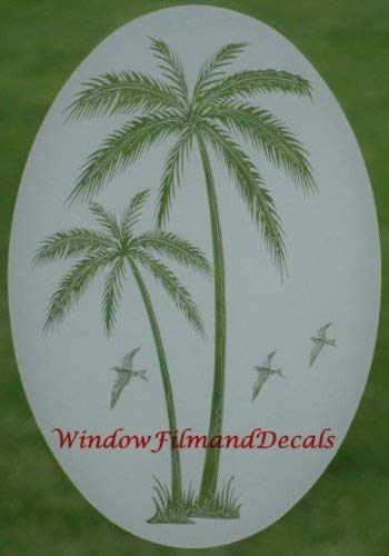 amazon com leaning palm trees oval etched window decal vinyl glass