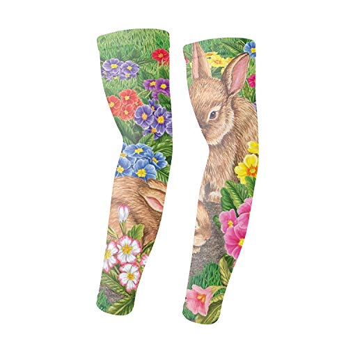 - Temporary Tattoo Bunny Friends Easter Arm Sleeves Arts Sunscreen Sports Cooling Protective Gloves