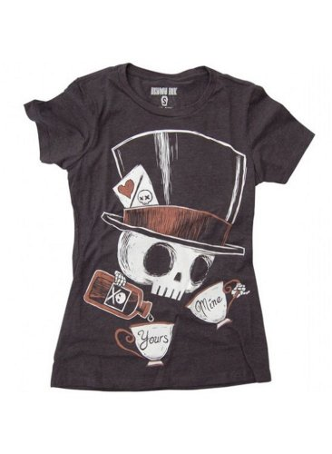 Akumu Ink - Rockabilly Damen T-Shirt - Tea Mad Hatter Grau (S-L)