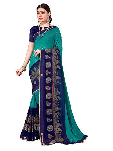 ELINA FASHION Saree For Women Blue Royal Chiffon Foil Print Embroidery (Designer Chiffon Sarees)