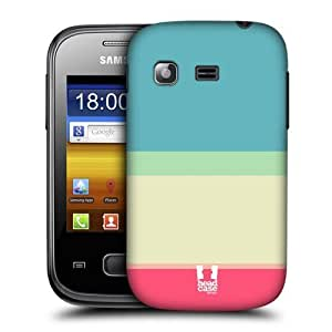 XiFu*MeiAIYAYA Samsung Case Designs Baby Blue and Cream Stripes Collection Protective Snap-on Hard Back Case Cover for Samsung Galaxy Pocket S5300XiFu*Mei