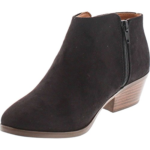 Product image of SODA Women's Round Toe Faux Suede Stacked Heel Western Ankle Bootie, Clay, 85 M US