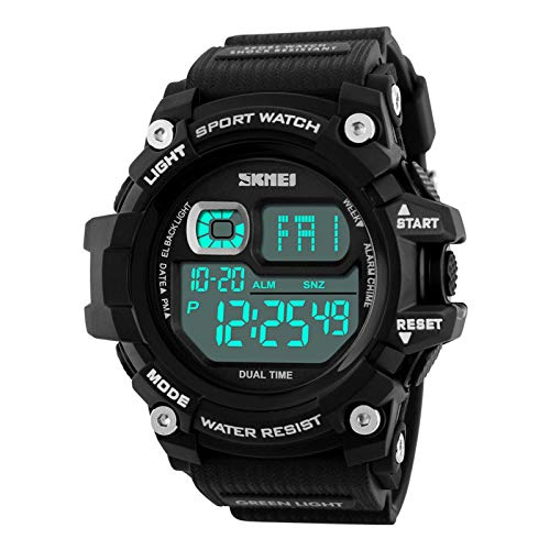 Lomanda Large Dial Watches for Men Waterproof Scilicone Straps Watch Multi-Function Display Backlight Digital Quartz Count-Down Timer Wrist Watches