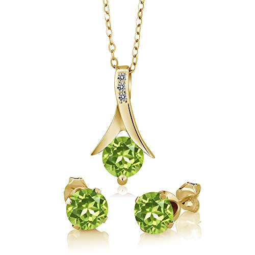 Gem Stone King 2.60 Ct Green Peridot White Diamond 18K Yellow Gold Plated Silver Jewelry Set ()