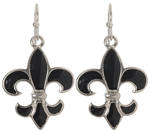 Artisan Owl - Black Fleur De Lis Dangle Earrings (Silver Tone)