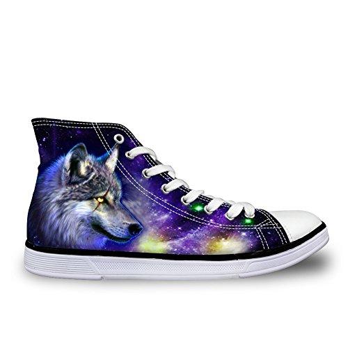 FÜR U DESIGNS Leichte Herren High Top Canvas Schuhe Universum Wolf Drucke Sneakers Wolf-1