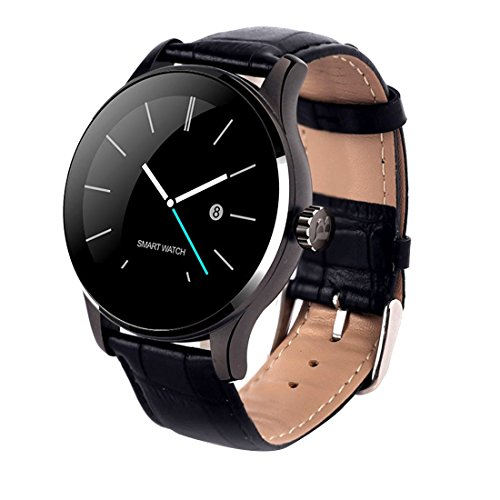 2016 Durable Bluetooth Smart Watches Round Screen Watch For Android IOS iPhone Black Leather Watchband For Sale