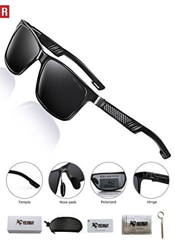 ROCKNIGHT Rectangular Sunglasses for Men Wayfarer Polarized Driving Sunglasses Metal Frame UV Protection Al-Mg Lightweight Grey by ROCKNIGHT (Image #3)
