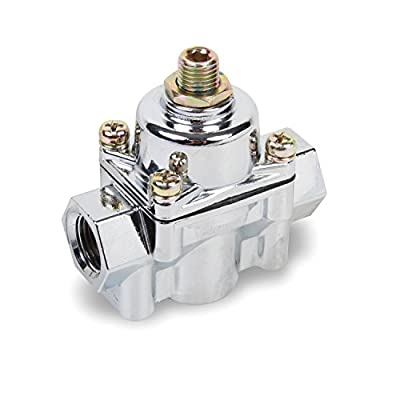 Earl's Performance 12803ERL Carbureted Fuel Pressure Regulator Gasoline 4.5-9 PSI Adjustment Inlet-3/8 in. NPT Outlet-3/8 in. NPT Non-Return Chrome Finish Die Cast Carbureted Fuel Pressure Regulator: Automotive