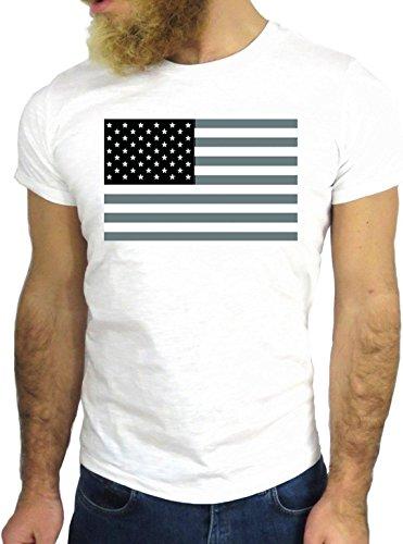 T-SHIRT JODE GGG24 HZ0247 FLAG FUN COOL VINTAGE ROCK FUNNY FASHION CARTOON NICE AMERICA BIANCA - WHITE XL