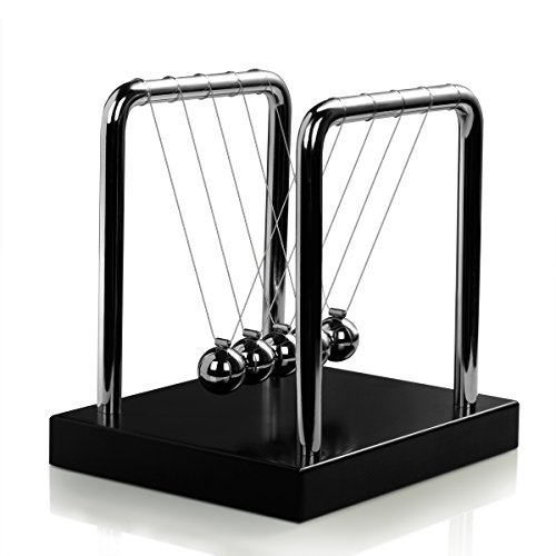 Classic Newtons Cradle Balance Balls Science Psychology Puzzle Desk Fun Gadget with Black Wooden Base (Mini Small)