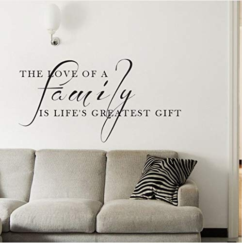 hwhz 82 X 42 cm Family Quote Wall Decal The Love of A Family is The Greatest Gift Quote Wall Sticker Home Decor Vinyl Family Wall Poster