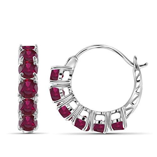 (3.95ctw Genuine Ruby Gemstone Sterling Silver Hoop Earrings)