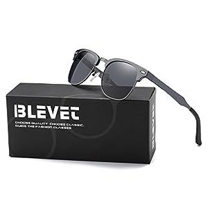 BLEVET Classic Wayfarer Polarized Retro Sunglasses Al-Mg Semi-rimless Driving Sun Glasses