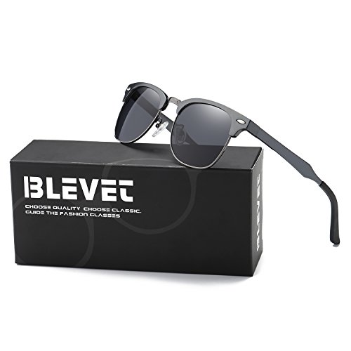 BLEVET Clubmaster Polarized Retro Sun Glasses Classic Metal Al-Mg Semi-rimless Driving All-match Sunglasses Men Women Eyewear(Gun Frame, - Clubmasters Aluminum