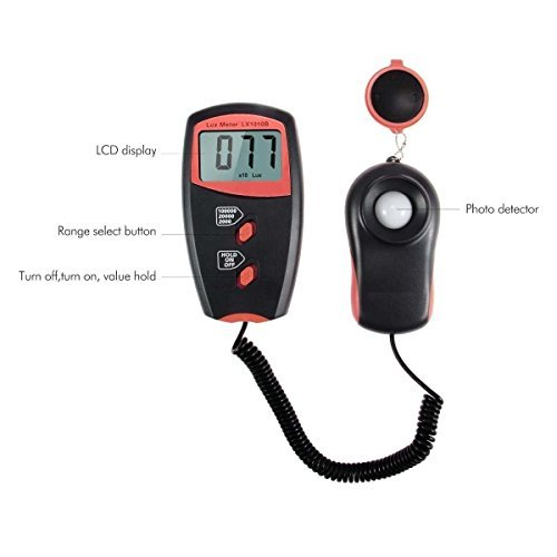 MH LX-1010B Digital Luxmeter Light Meter with LCD Display - Range up to 50,000 Lux