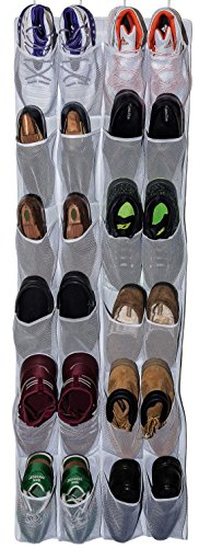 Roomganize Large Over the Door Shoe Organizer for Mens Sneakers (White) -