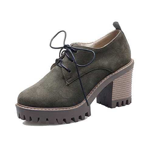 Amoonyfashion Tacco A Spillo Tacco Alto Imitato In Pelle Scamosciata Pumps-shoes Verde Militare